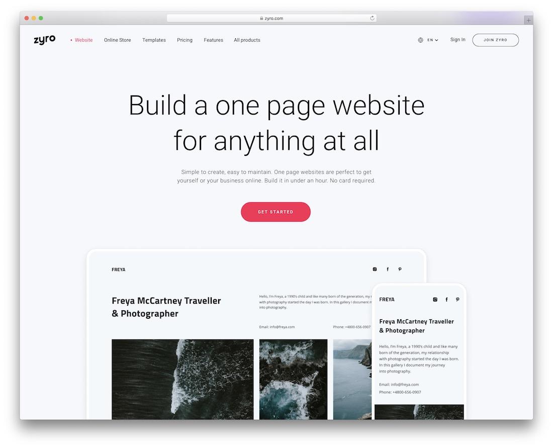 zyro one-page website builder