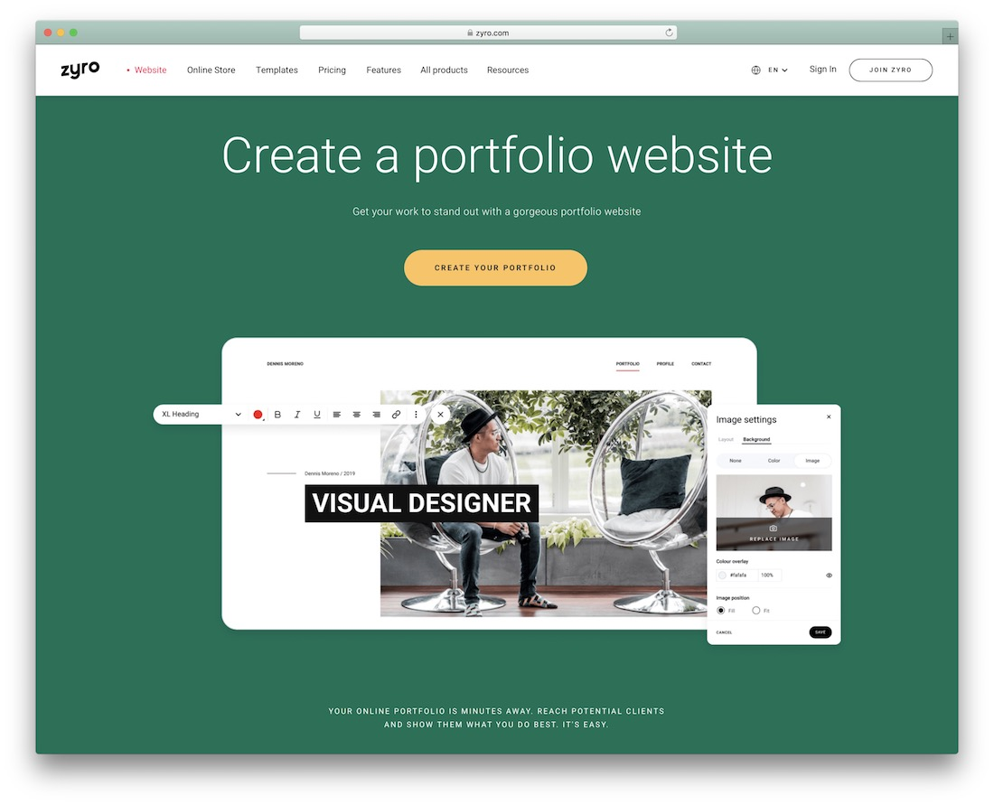 zyro portfolio website builder