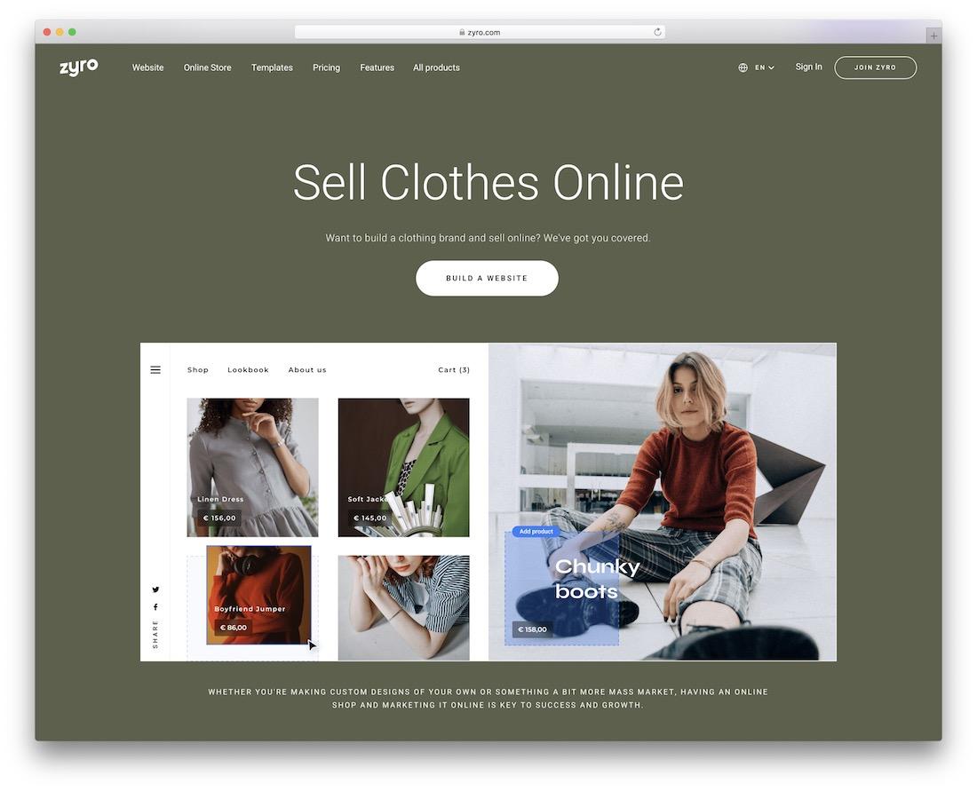 zyro website builder for fashion