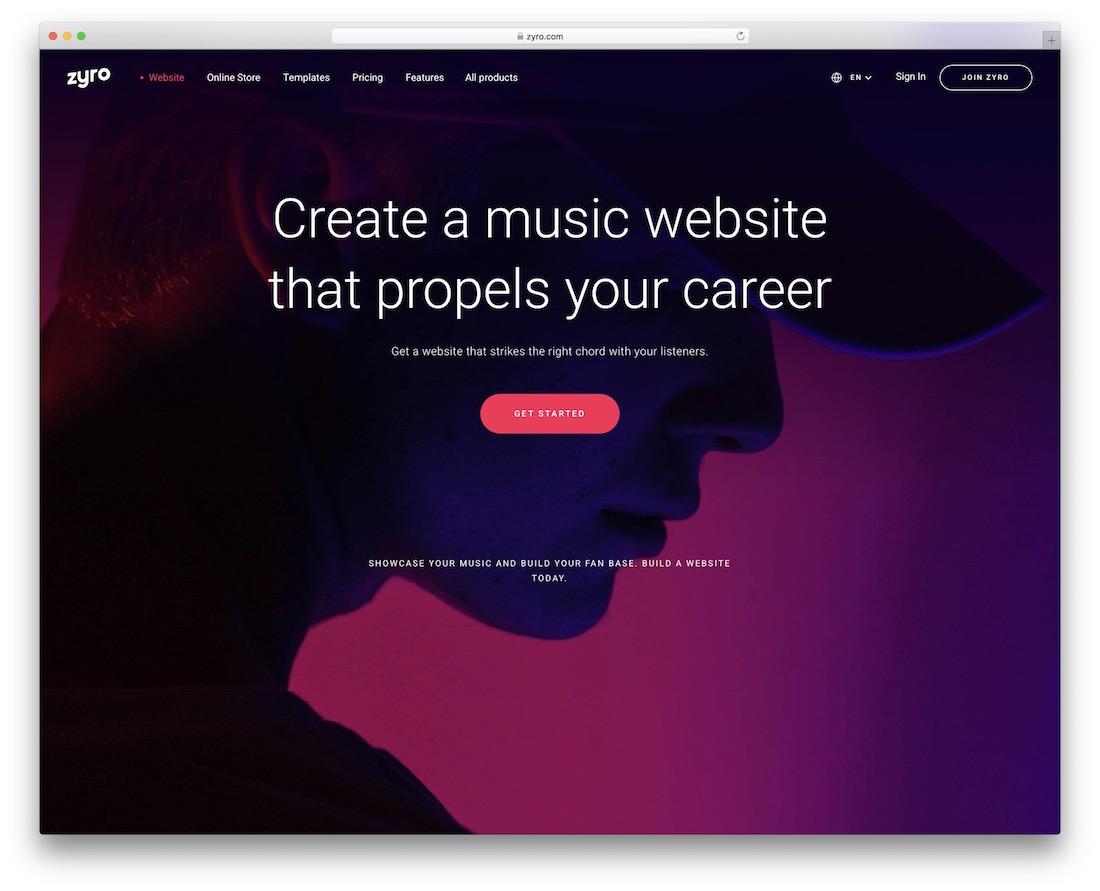 zyro website builder for musicians