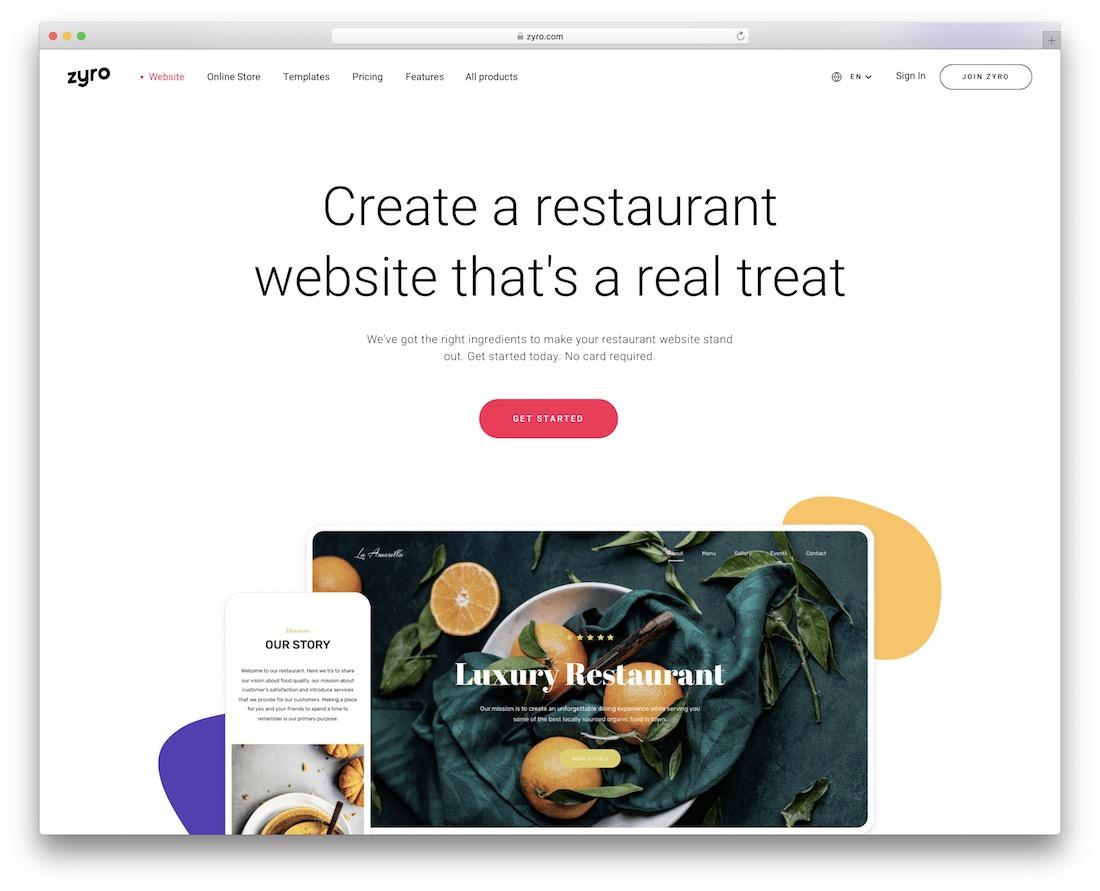 zyro website builder for restaurants