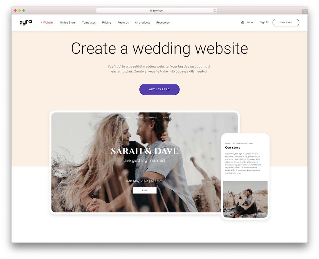 zyro wedding website builder